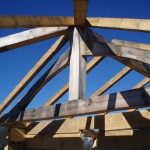 """Ceiling view in master bedroom which will be decked with 2"""" X 6"""" tongue and groove pine."""